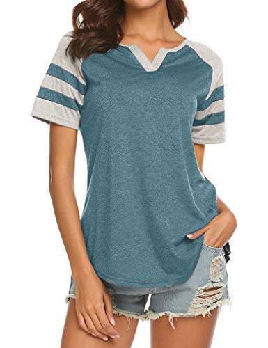- Locryz Women's Short Sleeve Raglan Striped T Shirt Baseball Tunic Tops Blouse XL Bottle Green
