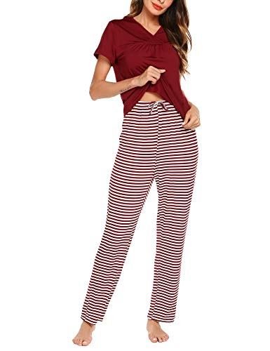 Romanstii Pajamas Womens Short Sleeve Sleepwear 2 Piece Soft PJs Set with Striped Pants