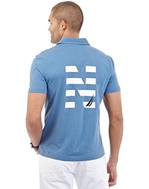 Mens Slim Fit Printed Polo Shirt Blue S