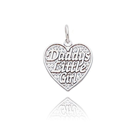 14K White Gold ''Daddy's Little Girl'' Heart Charm by Jewelry Adviser Charms