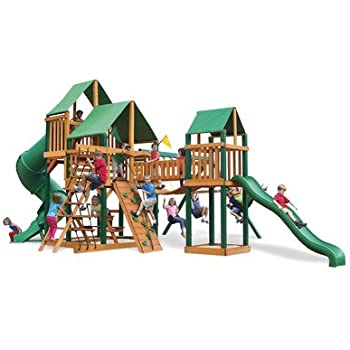 Gorillaplay Sets Home Backyard Playground Treasure Trove Swing Set with Timber Shield and Deluxe Green Vinyl Canopy