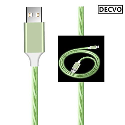 (DECVO Lighting Cable Special 360 Degree Light Up Visible Stars LEDMicro Cable and Data Cord Compatible Sumsung Galaxy S7 Edge,S6, HTC, Motorola, Nokia, Sony More Android Devices (Cyan))