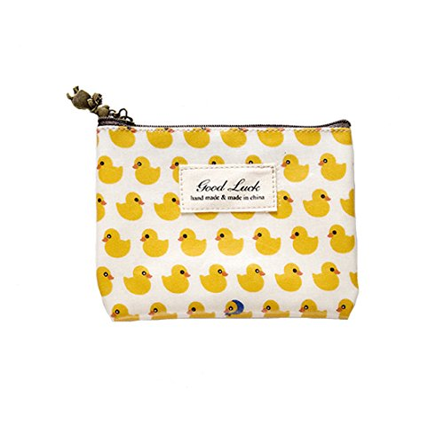Micom Cute Animals Large Coin Purse Cartoon Cosmetic Bags with Retro Zip (Duck) (Duck Coin)