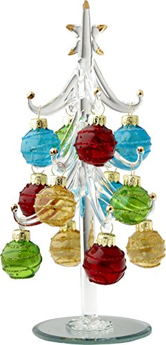 LSArts Glass Christmas Tree with Ornaments, Clear, 8 Inch, Multi-Colored Ornaments