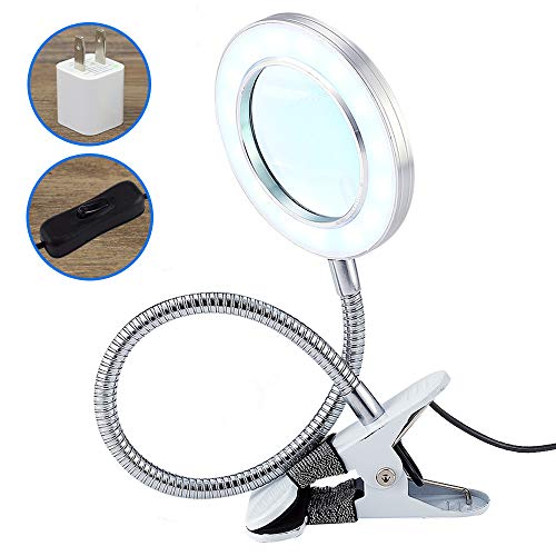 LED Magnifying Lamp with Clamp, 1.75X Magnifying Glass with Light for Desk, Sewing, Table & Easel Use Super Bright, Perfect for Reading, Hobbies, Task Crafts, Repair or Workbench, Cool White