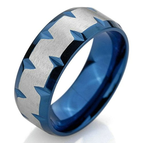 Aooaz Stainless Steel Rings For Men Blue Silver Mens Wedding Band Matte Polished Promise Ring Retro US 7 (Halloween Band Aid Cookies)