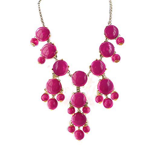 ShinyJewelry Bib Bubble Chunky Collar Choker Statement Necklace Pendant (Rose Pink)]()