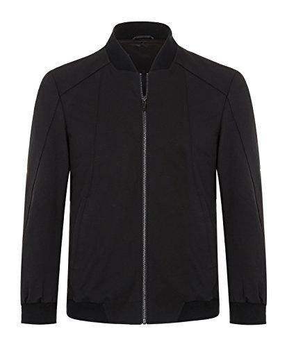 ELETOP Men's Casual Jacket Slim Fit Full Zip Lightweight Ourwear Pure Black 1915 US XL (Tag (Life Black Full Zip Jacket)