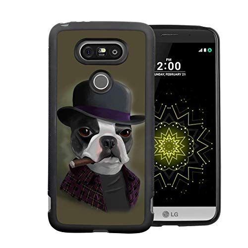 Retro Case Bowler Hat Terrier with Cigar for LG G5 Soft Protective Case Fashion Style Flexible Rubbery Slim Black Phone Case