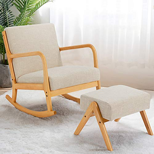 YOLENY Fabric Rocking Chair,Mid-Century Glider Rocker with Padded Seat, with Ottoman,Seat Wood Base,Linen Accent Chair for Living Room
