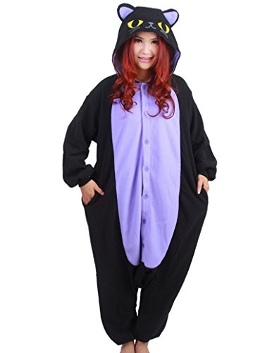 WOTOGOLD Animal Cosplay Costume Luminous Cat Unisex Adult Pajamas Black