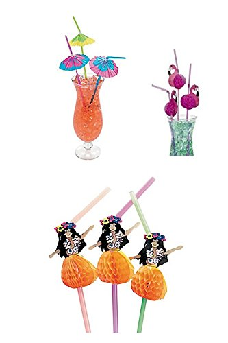 36 Luau Party Decorative Drinking Straws~Paper Parasol~Tissue Hula Girl~Flamingo/Party Supplies and Table Decor - Luau Straws