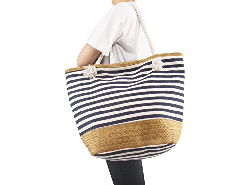 AmyHomie Large size straw striped canvas beach bag, zip pocket travel bag, Christmas gift (Stripe Beach Bag)