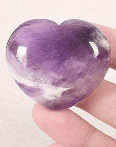 Natural Amethyst Gemstone Healing Crystal Puff Heart Love Worry Fengshui Stone Chakra Reiki Balancing Massage and Decoration (Heart Stone Precious)