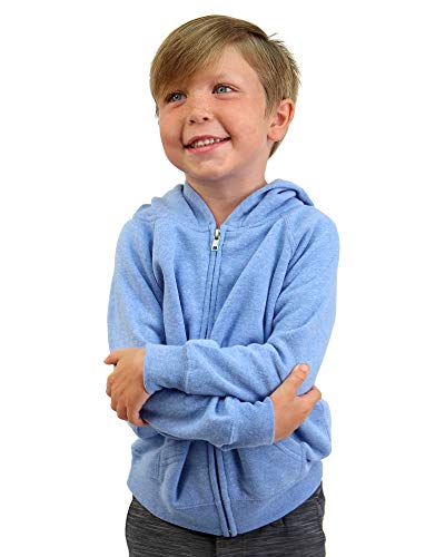 Global Boys and Girls Zip Up Fleece Hoodie Jacket for Toddlers Light Blue 4T