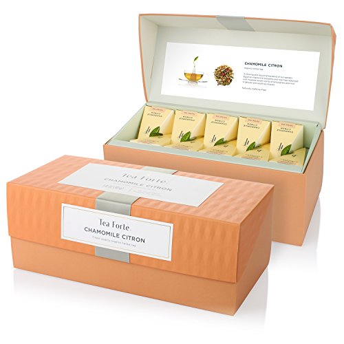 Tea Forte Presentation Box with 20 Handcrafted Pyramid Tea Infusers - Chamomile Citron Herbal Tea -  M06SF9Y