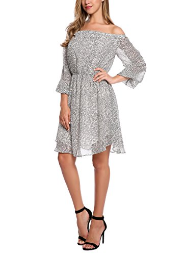 Zeagoo Women's Sexy Off Shoulder Print Dress (Medium, White)