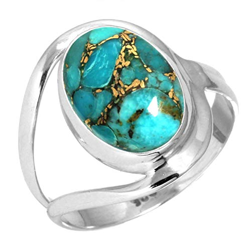 Copper Blue Turquoise Ring 925 Sterling Silver Handmade Jewelry Size 10