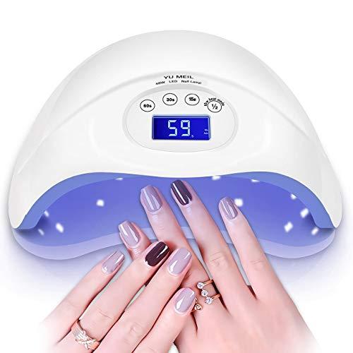 48W UV Led Nail Lamp, Nail Dryer Light Curing Lamp With Timer/Sensor for Led UV Gel Nail Polish Nail Art Manicure Tools (white)