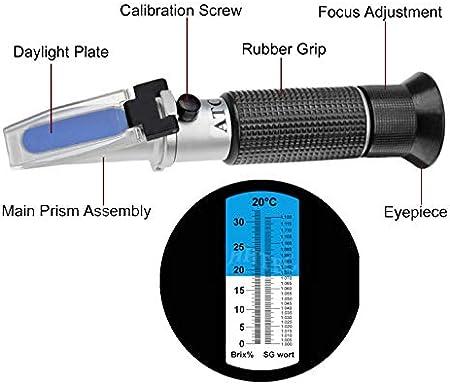 HHTEC Refractómetro Brix 0-32% wort de cerveza SG 1.000 - 1.120 índice de rotura de wort Dispositivo medidor del contenido de azúcar en la cerveza con función ATC