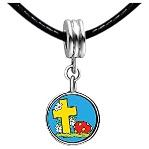 Chicforest Silver Plated Easter Day yellow cross cartoon Photo Blue Aquamarine Crystal March Birthstone Flower dangle Charm Beads Fits Pandora Charm