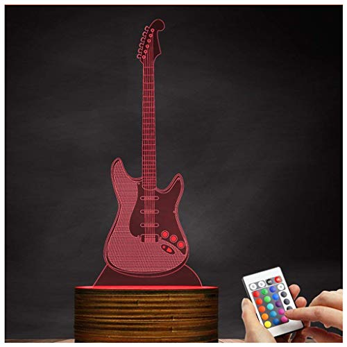 Novelty Lamp, 3D LED Lamp Optical Illusion Guitar Night Light, USB Powered Remote Control Changes The Color of The Light, Children's Friends Birthday Party, Ambient Light by LIX-XYD (Image #9)