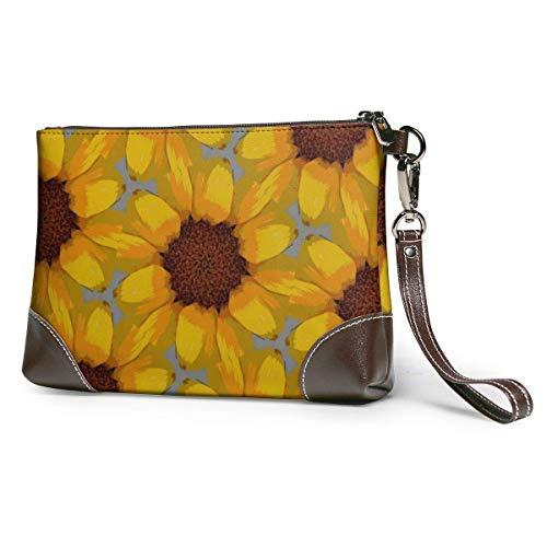 EDFG Pintura al oleo de girasol floreciente, cuero autentico, grande, cuadrado, con luz de muneca, billetera, bolso de mano para telefono movil