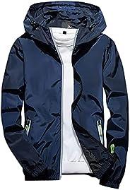 meirenruyu Men's Cycling Running Jacket Windbreaker Casual Lightweight Plus Size Hoodie Reflective Zipper