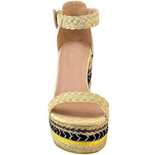 Nude Wildleder Sommer High Keil Damen Heels Durstig Faux Schwarz Schuhe Sandalen Damen Größe Heelberry® Mode Plateau Party wqagB6x