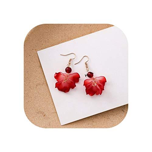 (Vintage Bohemia Natural Stone Black Crystal Big Earring For Women Fashion Jewelry Green Flower Dangle Drop Earrings,3)