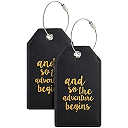 Casmonal Luggage Tags with Full Back Privacy Cover w/Steel Loops (black 02 pcs set)