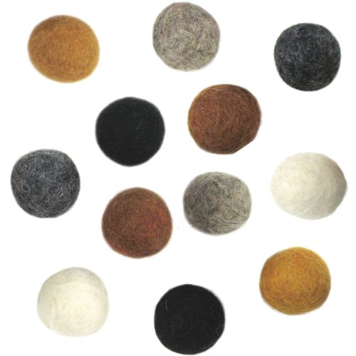 Dimensions Felt Embellishments, Earth Tone Balls, 12 pieces Felt Wool Embellishments