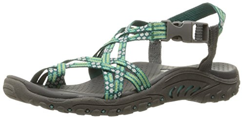 Amp Green (Skechers Women's Reggae Loopy Toe Ring Sandal, Mint/amp/Green, 8 M US)