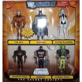 (DC UNIVERSE JUSTICE LEAGUE UNLIMITED 6 PACK (~THE SECRET SOCIETY~) THE KEY, SILVER BANSHEE, SHADOW THIEF, KGBEAST ATOMIC SKULL, & BATMAN by Mattel)