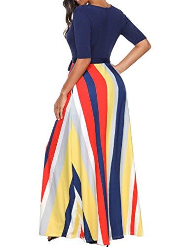 Cxins Demi-rayures Manches Côté Nouée À La Taille Vintage V Patchwork Cou Robe De Soirée Maxi Cocktail Poche Femmes Robe Bleu Marine