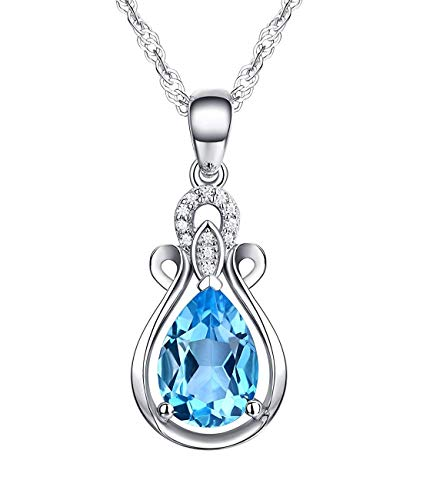 Sterling Silver Necklace Pendant for Women Amethyst Crystal,Blue Topaz Natural Gemstone Birthstone Birthday Gift (BFJ06 Topaz)