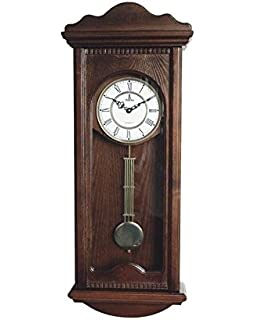 Superb Verona Large Dark Wooden Wall Clock With Pendulum   Elegant U0026 Decorative  Wood Clock With Dark