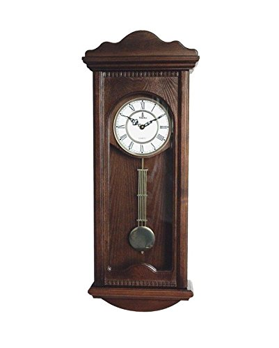 Verona Large Dark Wooden Wall Clock With Pendulum
