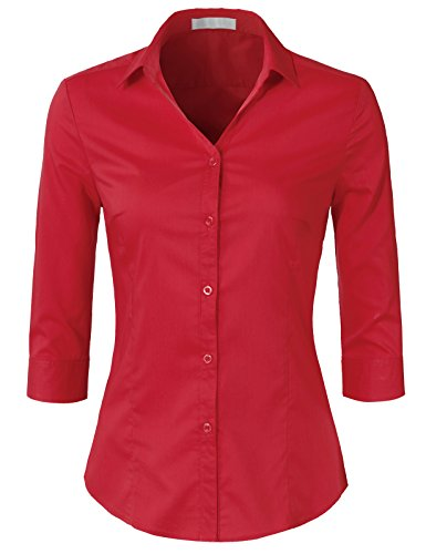 (H2H Womens Classic Solid 3/4 Sleeve Button Down Blouse Dress Shirt RED L (AWTSTS0366))