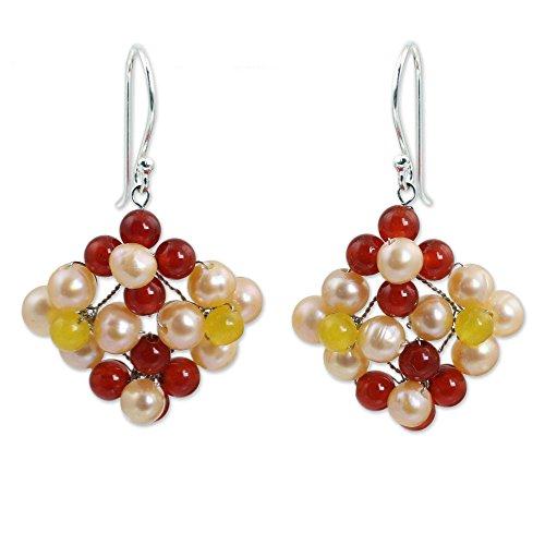 NOVICA Multi-Gem Carnelian Peach Cultured Freshwater Pearl Sterling Silver Beaded Earrings 'Nosegay'