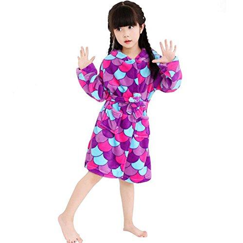 LANTOP Kids Soft Bathrobe Comfy Unicorn Flannel Robe Unisex Hooded Gift All Seasons Sleepwear -