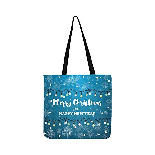Christmas Card Neon Light Bulbs Snowflakes Canvas Tote Handbag Shoulder Bag Crossbody Bags Purses For Men And Women Shopping -
