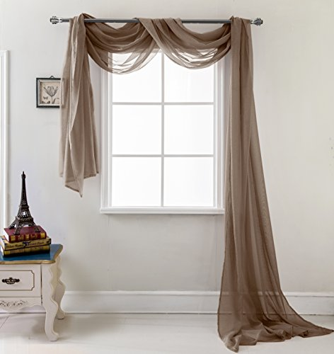 RT Designers Collection Celine Sheer 55 x 216 in. Sheer Curtain Scarf, - Brown Scarves Curtain