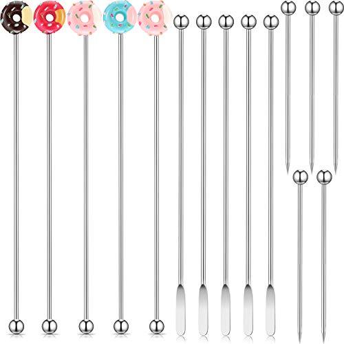 15 Pieces Donut Shape Swizzle Sticks Stainless Steel Swizzle Sticks and Picks Coffee Beverage Stir Stirrers Picks…