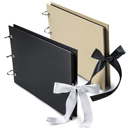 Scrapbook Album 80 Pages - Family Adventure Book w/Scrapbooking Supplies | Includes Silver Ink Pen, 6 Binder Rings, Corner Stickers | Photo Album Book for Wedding, Anniversary & Memories