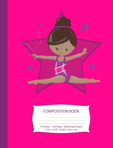 """Search : Composition Book: Brown Hair African American Gymnast - Hot Pink w/ Purple Stars - Wide Ruled - 140 Pages (70 Sheets) - 7.44"""" x 9.69"""" - Blank Lined - ... Teen Girls (Little Gymnast Series) (Volume 2)"""