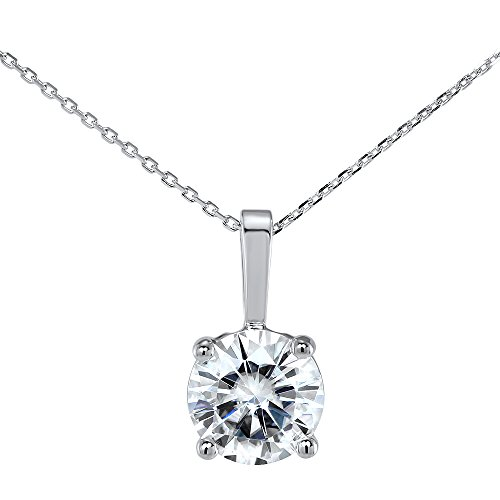 1.0ct Charles and Colvard Moissanite Forever Brilliant 14K White Gold 4 Prong Solitaire Pendant