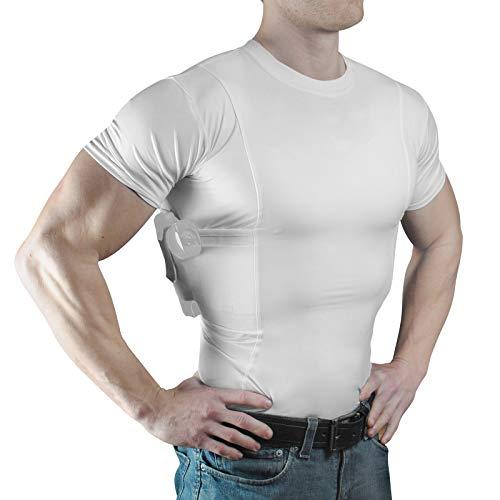 ConcealmentClothes Men's Crew Neck Undercover- Concealed Carry Holster Shirt- White- Medium (Best Handguns For Lefties)