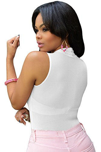 New Ladies blanco Teddy Body de malla sin mangas lencería Trikini Maillot Teddies Pole Dance tamaño L UK 14