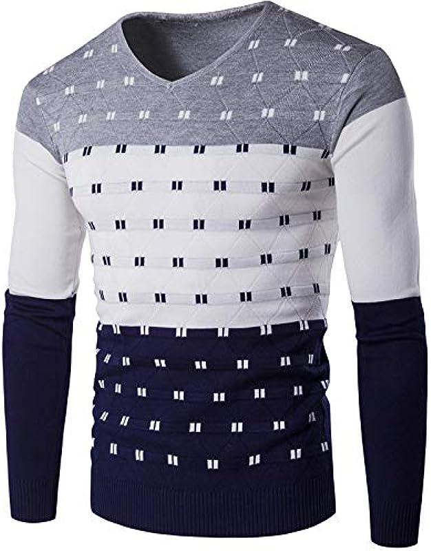 Męskie V-Ausschnitt Sweatshirt beiläufige Farben-Block-geometrisches Muster Weihnachten Sweater Slim Fit Fashion Pullover Strickpullover Basic Shirt (Color : E, Size : 2X-Large): Küche & Haushalt